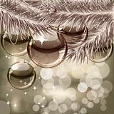 Christmas background with transparent balls