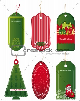 Bright Christmas tags. Vector.