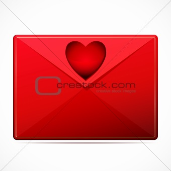 A love letter with a heart. Vector image.