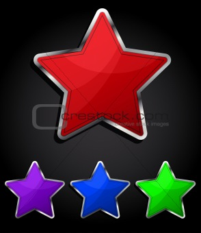 Star glossy button, icon, eps10.