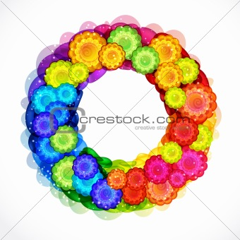 Abstract flower wreath frame. Vector background.