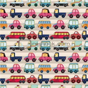 seamless cartoon car pattern