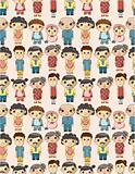 seamless cartoon family pattern