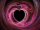 Black heart among pink and purples