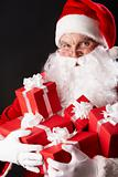 Santa with gift boxes
