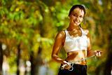 Cheerful sportswoman