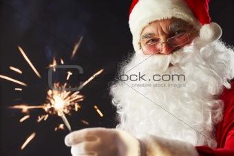 Santa with a sparkler