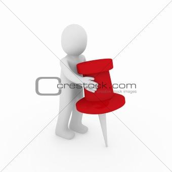 3d human man red tack
