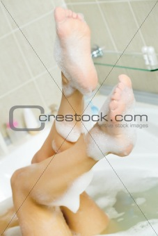 Legs in bathtub