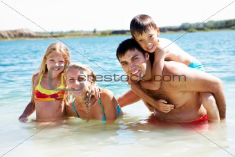 Family in water
