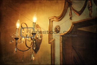 Wall light sconce with mirror and vintage background