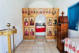 Interior of minimalistic chapel on a roadside in Greece
