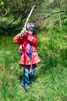 Angry Child Girl With Stick
