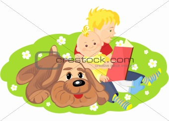 vector of the elder brother is reading a book to his younger bro