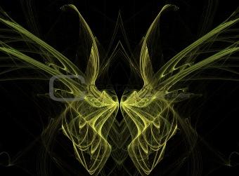 Yellow Fractal Butterfly Wings on Black Background