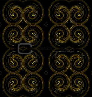 Seamless Continuous Background in Yellow and Brown on Black