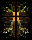 Fractal Crucifix With Hearts in Green and Gold on a Black Background