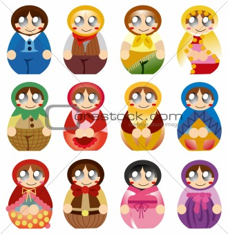 cartoon Russian Doll icon