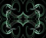 Seamless Green Fractal Design on a Black Background