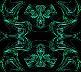 Continuous Fractal Pattern in Green on Black