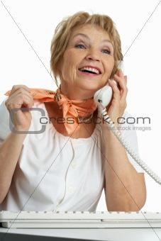 Calling senior woman