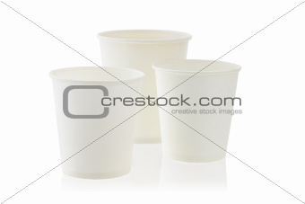 Three disposable paper cups