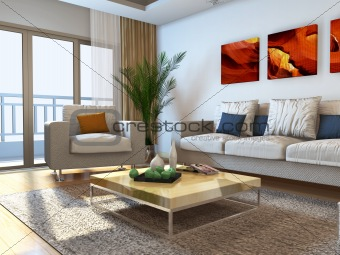 living room with modern style.3d render