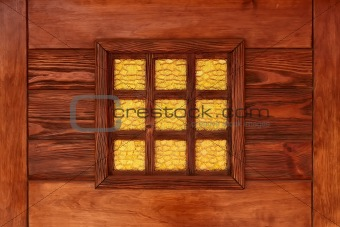 Yellow decorative stained-glass window 