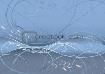 abstract floral background in gray-blue tones