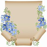 Old scroll. Flower. Forget-me-not