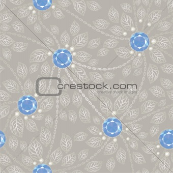 Seamless silver background with gems