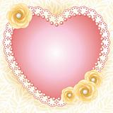 Jewelry heart frame with roses