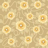 Seamless background with vintage roses and gold