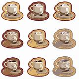 Grunge coffee cups