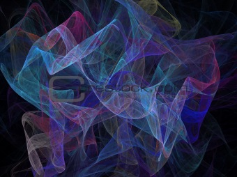 Multi-Colored Swirling Transparent Fabric Fractal