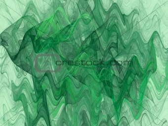 Green Variegated Wavy Fractal Background