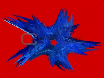 Patriotic Swirling Blue Fractal Star on Red