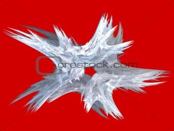 Patriotic Swirling White Fractal Star on Red