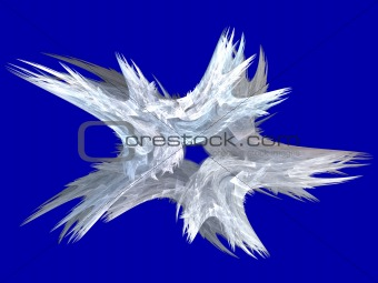Patriotic Swirling White Fractal Star on Blue