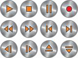 Vector set of metallic multimedia buttons