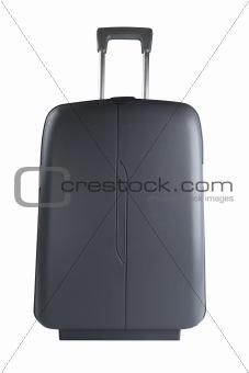 Grey suitcase isolated on white background