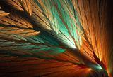 Parrot Feather Fractal in Orange and Green