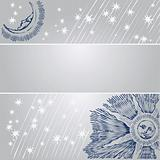 Decorative card with sun, moon and stars