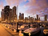 Downtown Chicago seen from marina