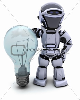 Robot with a light bulb