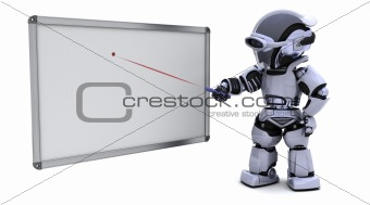 robot with blank white board