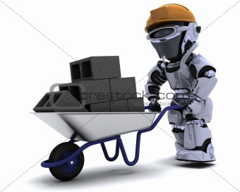 Robot Builder with a wheel barrow carrying bricks