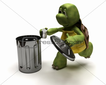Tortoise with a trash can