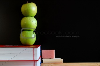 blank blackboard with apples