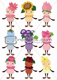 cartoon flower fairy icon